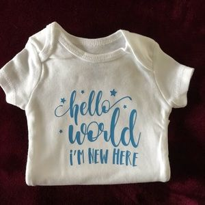 "NEW HANDMADE ""HELLO WORLD"" BABY ONSIES"